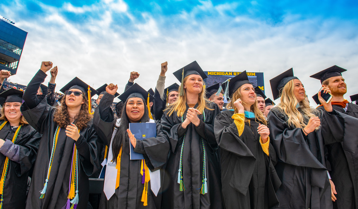 University of Michigan graduates at 2019 Commencement at Michigan Stadium in Ann Arbor