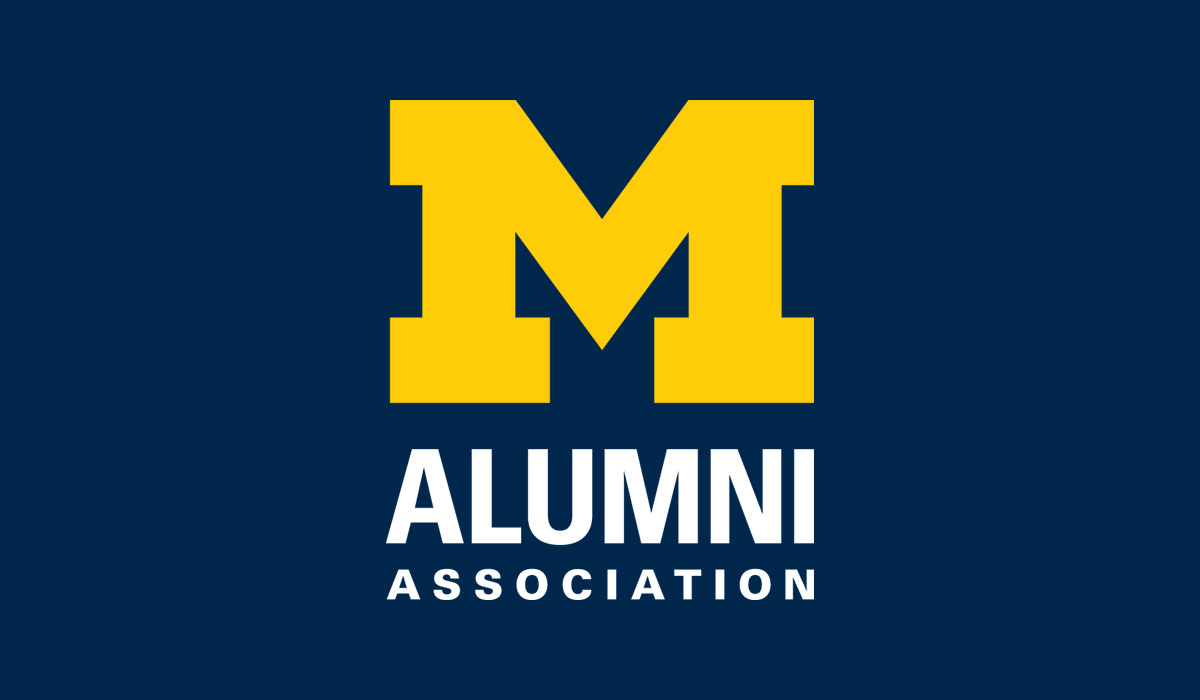 Alumni Association logo with navy background
