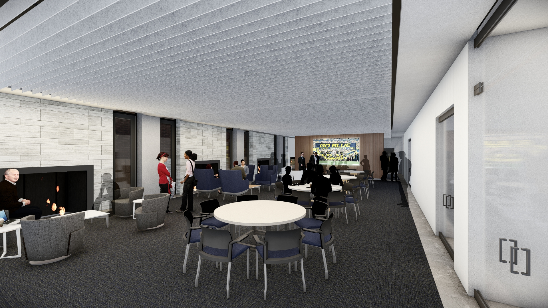 Rendering of the renovated Alumni Center's Founders Room