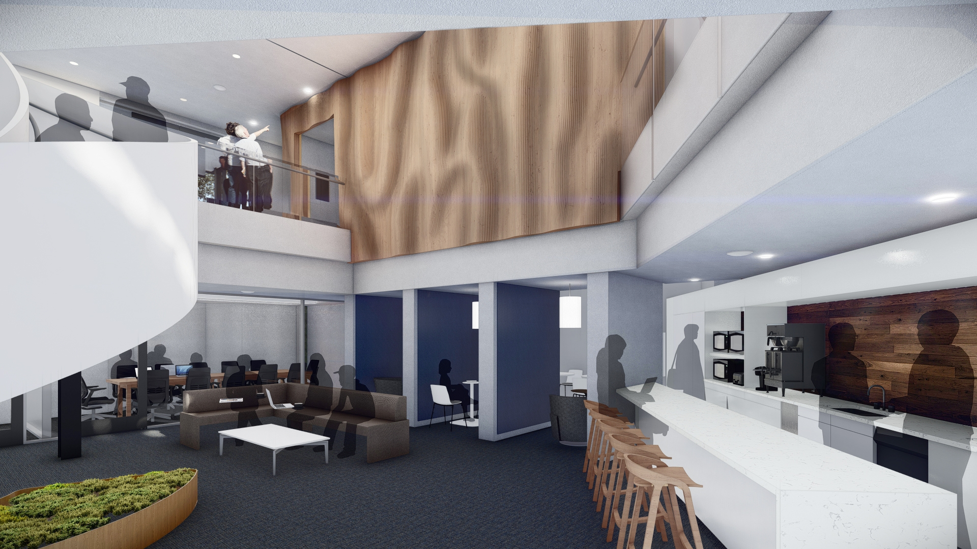 Rendering of the renovated Alumni Center's cafe