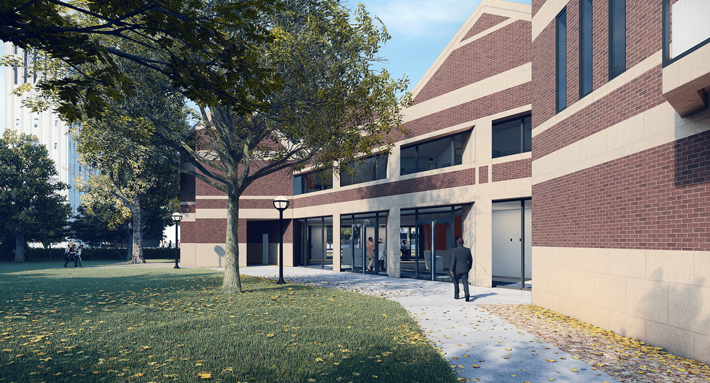 Rendering of the renovated Alumni Center's south entrance