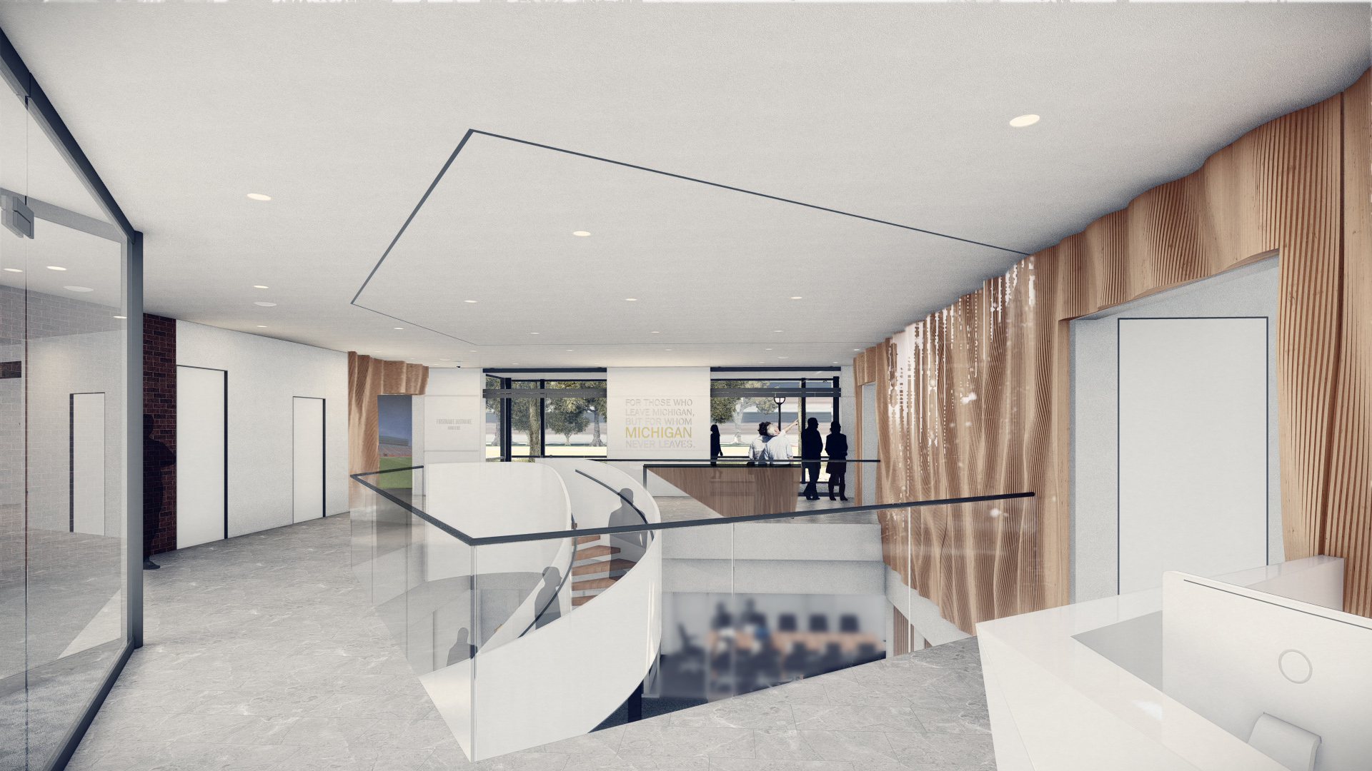 Rendering of the renovated Alumni Center's lobby