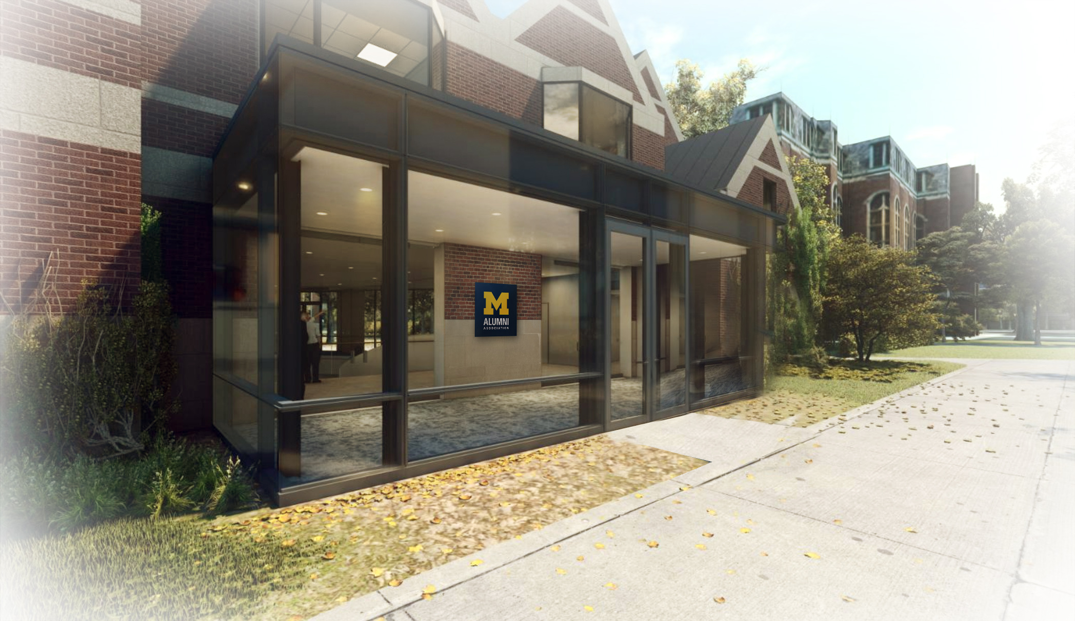 Rendering of the renovated Alumni Center's new entrance