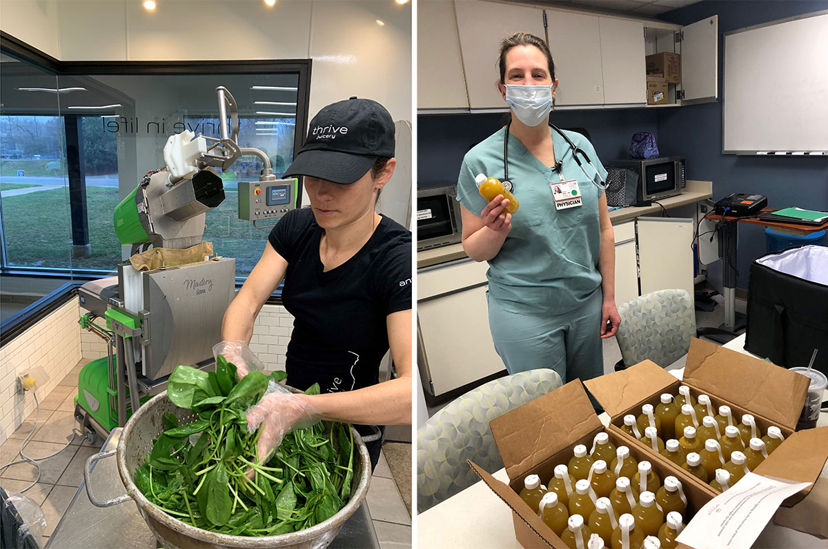 Anna Mignery (left) and husband Andy ensured that Michigan Medicine and St. Joseph Mercy hospital had daily shipments of fresh juice for hospital staff, including Margaret Gillis at St. Joseph.