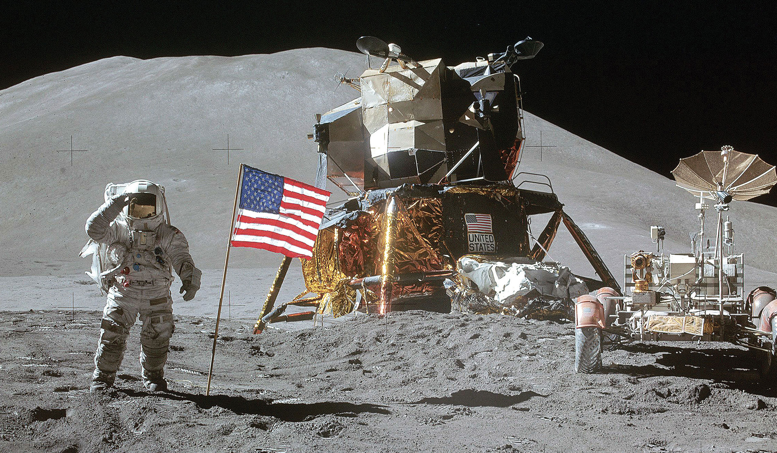 An astronaut on the moon saluting, surrounded by a United States flag, module, and rover