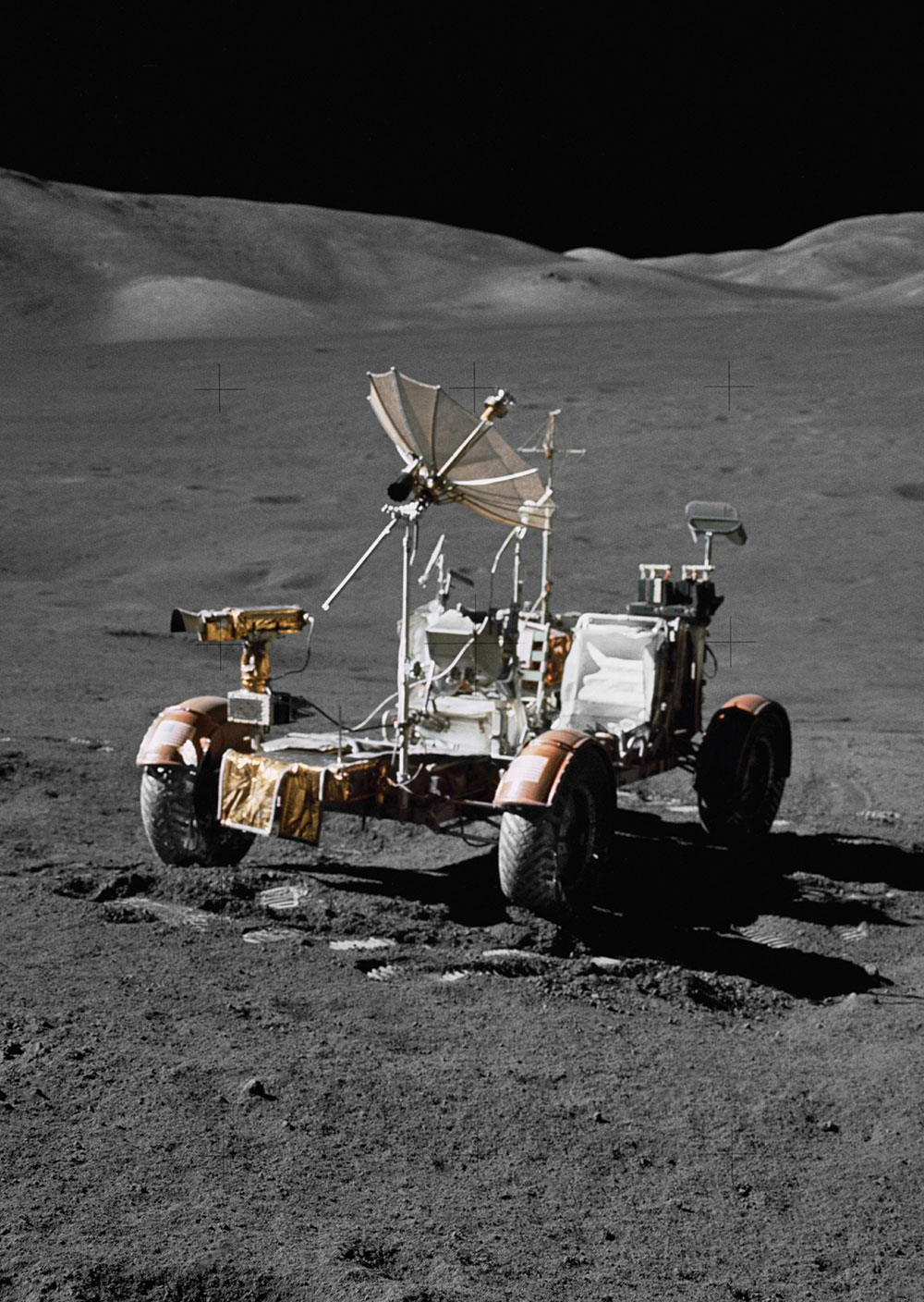 The electric Lunar Roving Vehicle was designed to operate in the low-gravity vacuum of the moon and to be capable of traversing the lunar surface.