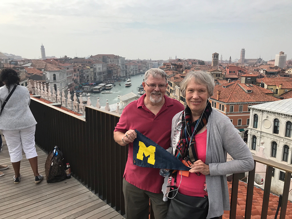 Husband and wife Sam, '69, and Bobbie Chappell, '67, checked Venice, Italy, off their bucket list with a stop there last October.