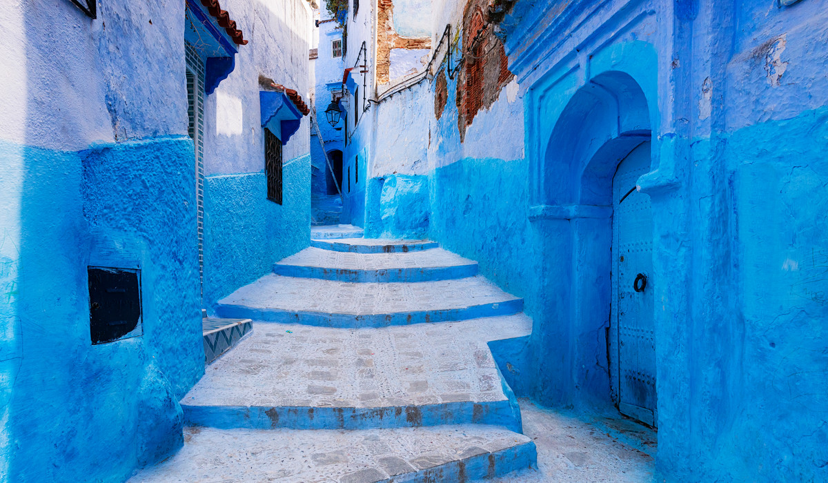 Street In The Town Of Chefchaouen In Morocco