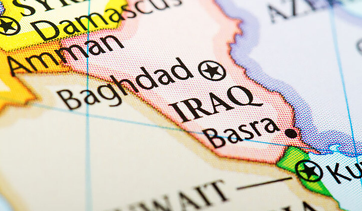 Map Of The Country Iraq In Red