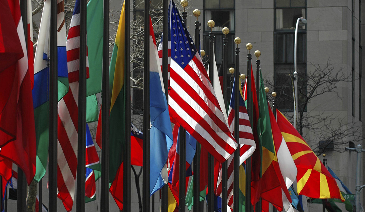 Line Of Flags From All Different Countries And Nations
