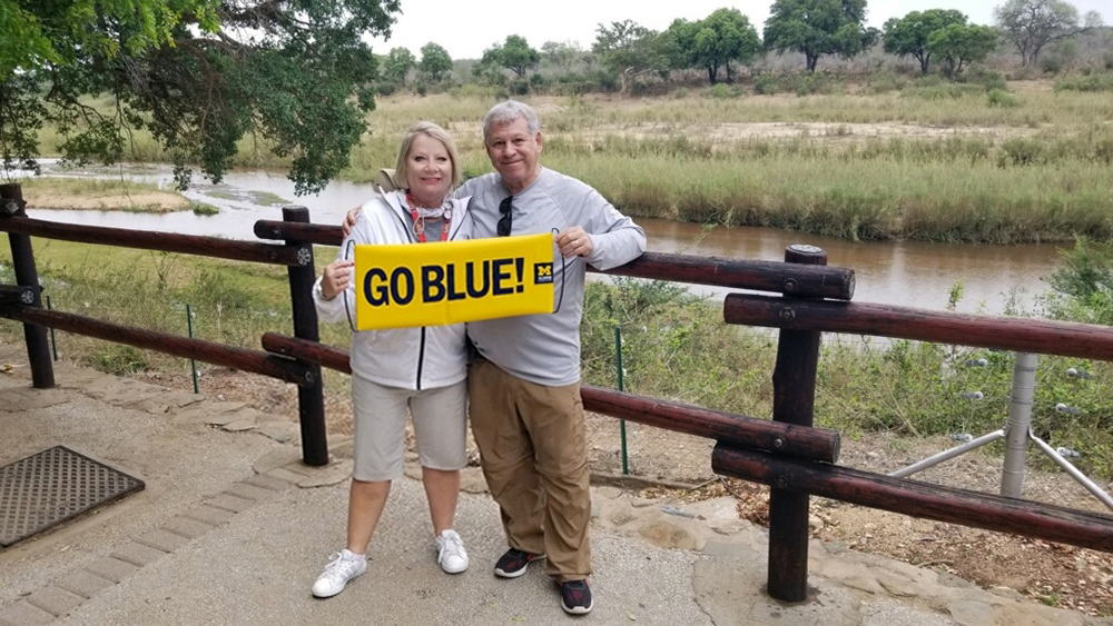 Mark A. Kellman, '75, JD'78, and his wife, April, showed the Maize and Blue to the wildlife of Kruger National Park in South Africa.