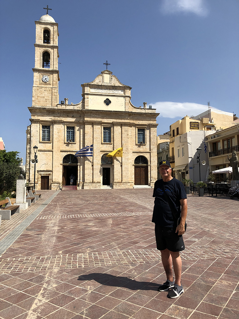 Former Wolverine football and basketball player C.J. Kupec, '84, and his family visited the city of Chania on the island of Crete in Greece.