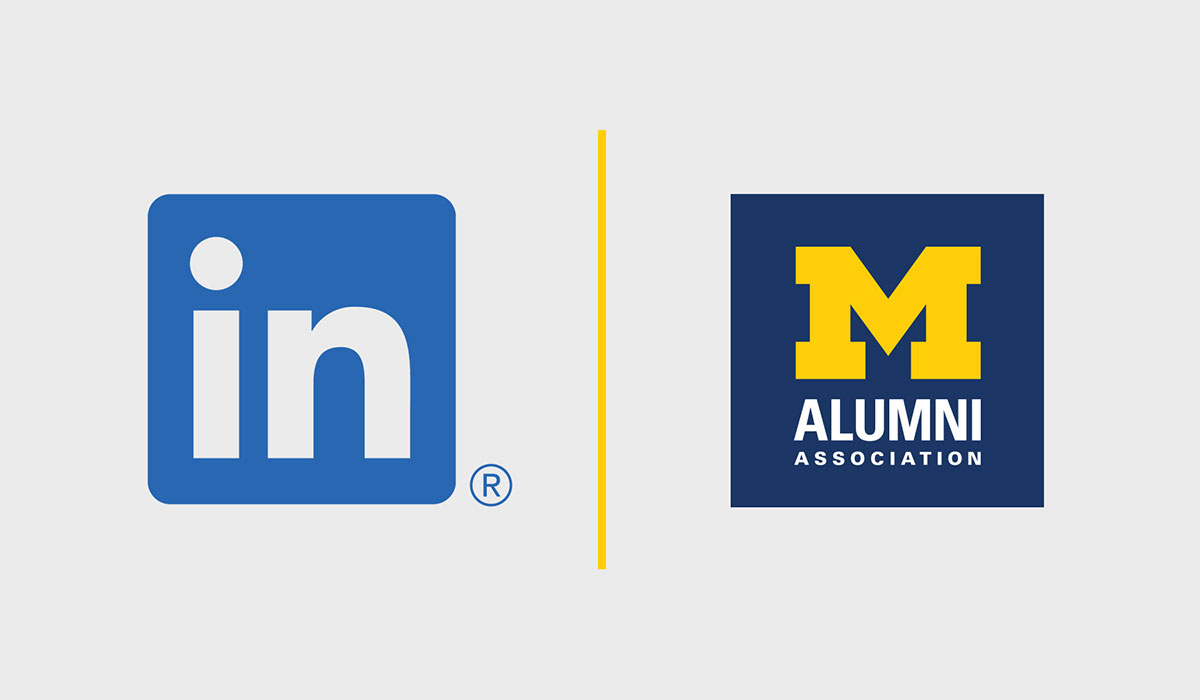 Logos for LinkedIn and Alumni Association of the University of Michigan