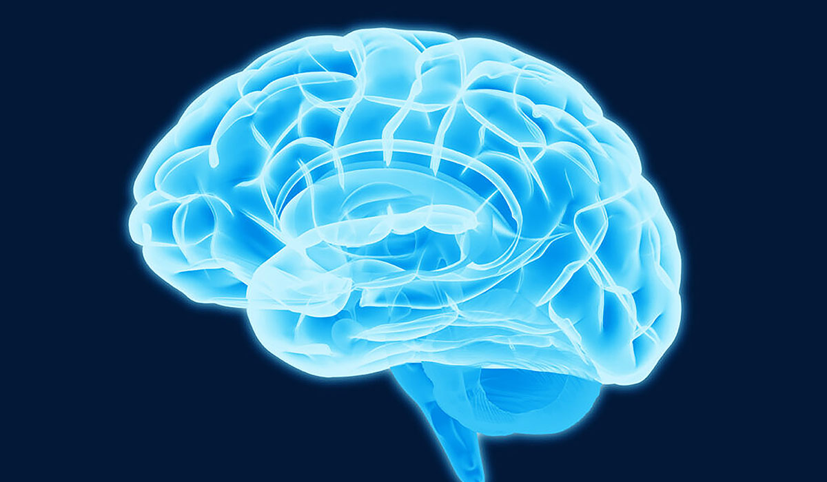 Blue Brain Scan Illustration Isolated On Dark BG