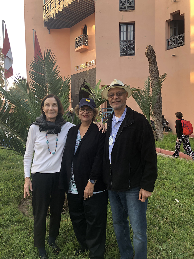 Fulbright fellowship alumni gathered for a reunion in Marrakesh, Morocco, over the summer. From left to right are Marlene Martin, '63, MA'67; Elaine Effort, '72, MA'73; and Edmund Effort, DDS'77.