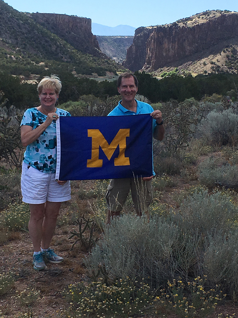 Jo, '80, and Robert Martyn, '80, traveled to Diablo Canyon, New Mexico, taking a photo precisely where numerous John Wayne westerns were filmed.