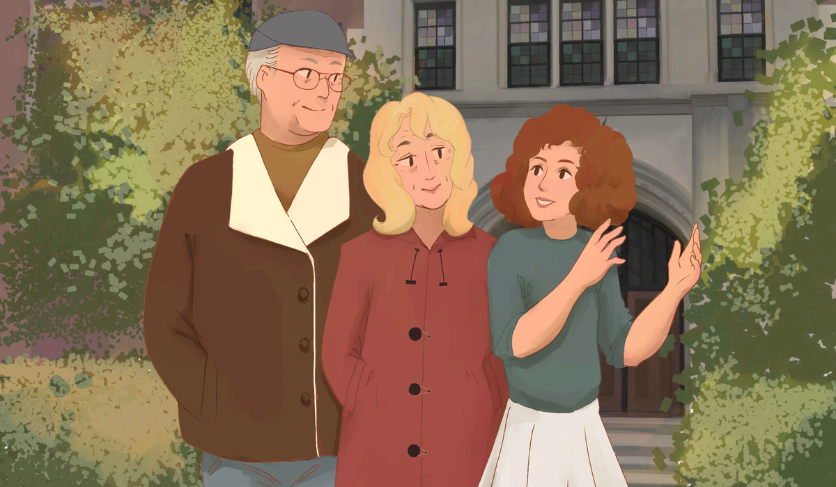Illustration of a woman with her grandparents in front of the Michigan League