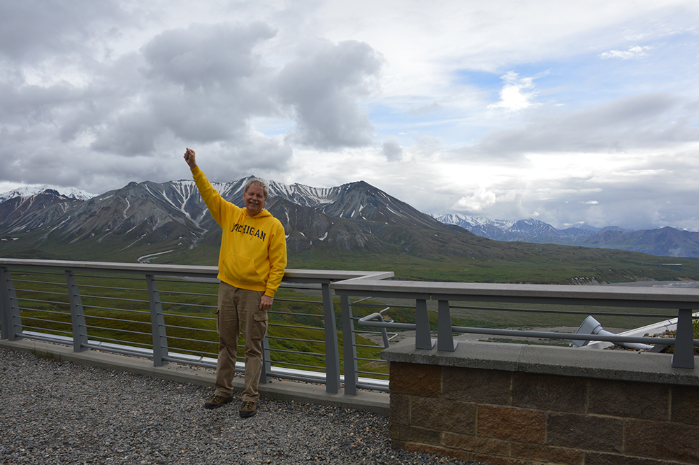 A few clouds did not darken the spirit of Drew Montag, '78, MSI'04, during a trip to Denali National Park in Alaska.
