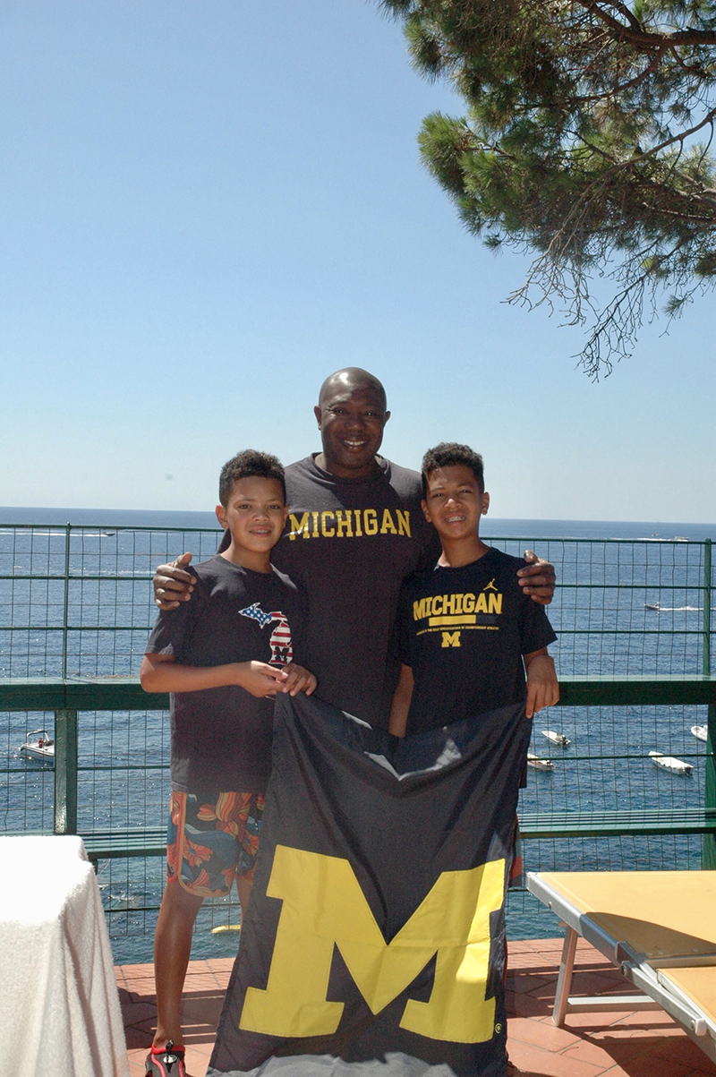 Dotun Oyedijo, '92, MD'95, and his sons, Ryan and Andrew, enjoyed the summer sun in Nerano, Italy.