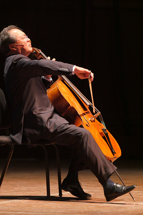 """Yo-Yo Ma also delivered a lecture titled """"Culture, Understanding, and Survival"""" at Hill Auditorium the night before the Flint event. He opened and closed his talk by performing the theme from Bach's """"Goldberg Variations."""""""