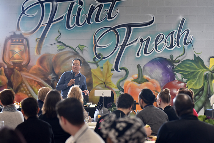 Yo-Yo Ma's day of action in Flint, Michigan, began with a strategic working session held at Flint Fresh Food Hub, a local nonprofit food distribution center. Some 50 Flint-based community leaders attended the session to learn how cultural collaboration can affect social change.