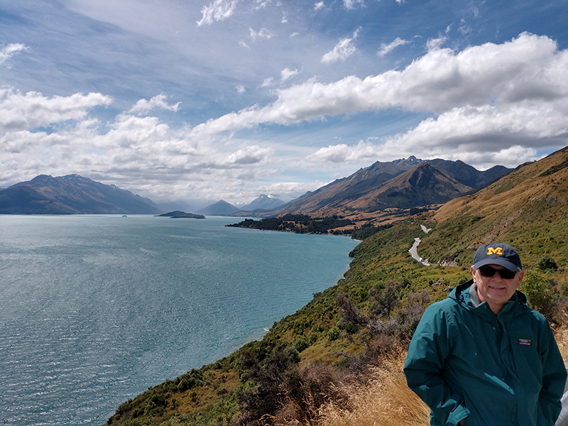 Ron Ristau, '76, took in the beauty of the landscape on the road between Queenstown and Glenorchy on the South Island of New Zealand.