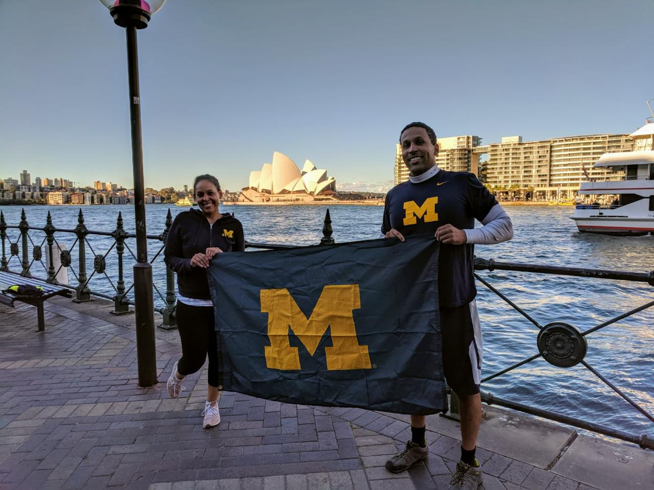 Siblings Dana Rochelle Lee, '03, and Kevin M. Lee, '06, represented the University of Michigan during a trip to Sydney.