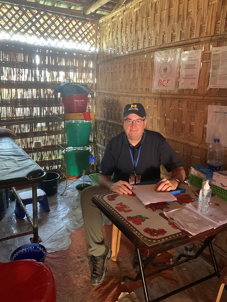 Richard Roland, '84, MD'89, volunteered as a physician for the MedGlobal/OBAT Helpers clinic of Camp 4, a Rohingya refugee site in Cox's Bazar, Bangladesh. He urges everyone to remember the plight of those displaced from Myanmar.