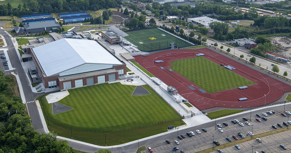 Aerial photo of Stephen M. Ross Athletic Campus - South Complex