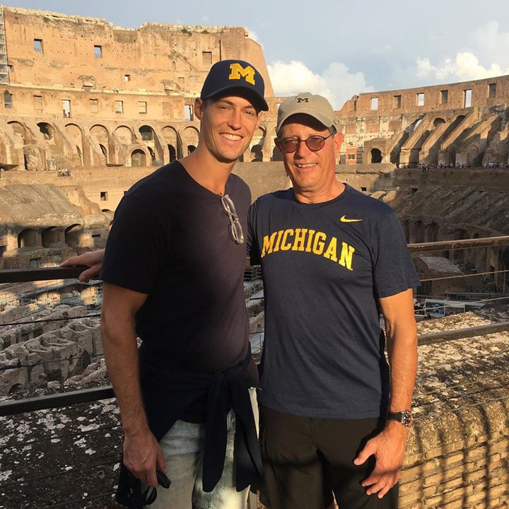 Paul Rzeznik, '92, and his son, Cody, '11, visited the Roman Colosseum in October 2019.