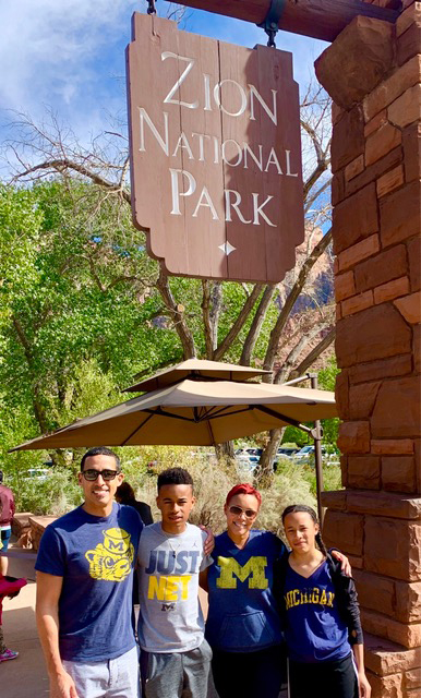 Joseph, '96, JD'01, MBA'01, and Stacy Giles, '95, and their children, Justin and Alex, experienced a hiking trip to Zion National Park in Utah.