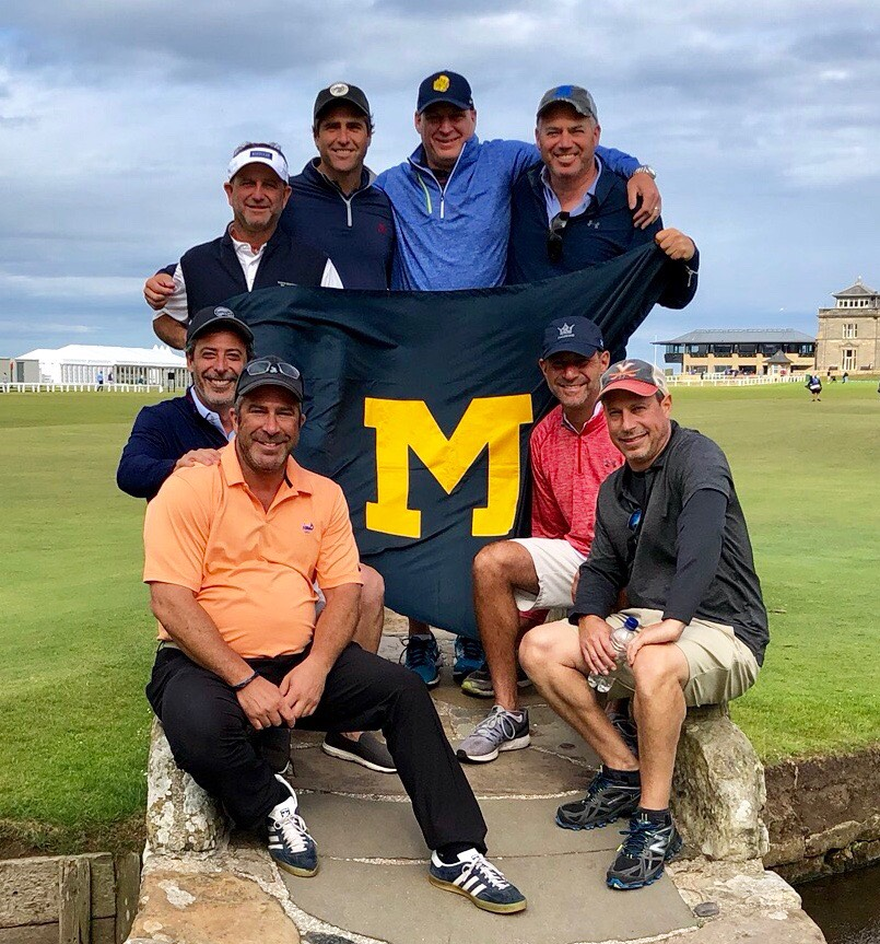 A collective 50th birthday celebration took on a decidedly Michigan flair when alumni gathered for golf on the Old Course at St. Andrews in Scotland. Pictured: Michael Schiff, '90; Chris Mongeluzo, '90; Richard Learner, '90; Howard Katz, '90; Gary Malin, '90; Matt Guthartz, '90; Danny Roshco, '90; and Jeff Feldman, '89.