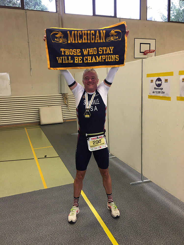 Mark Somerville, '91, competed for Team USA at the ITU Powerman Long Distance Duathlon World Championships in Zofingen, Switzerland. In his age group, Mark was the fastest American and 12th in the world. The race consisted of a 10K run, 150K bike, and another 30K run.