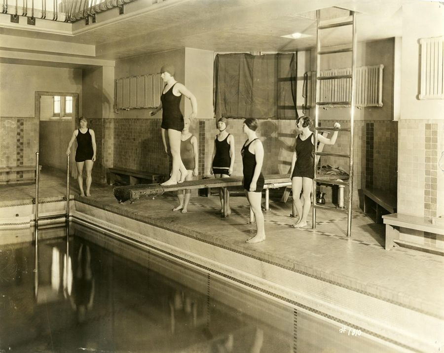 Even though women couldn't enter the Union until 1956, they did enjoy access to the pool (as long as they had a male escort into the building). Seen here are female students circa 1925.