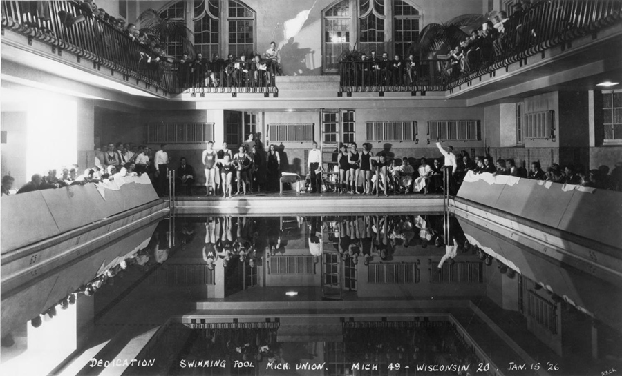The University dedicated the pool on Jan. 15, 1926, in a swimming meet against Wisconsin—seven years after the Union officially opened. Although planned as part of the building from the beginning, the pool remained incomplete for a time due to lack of funding.