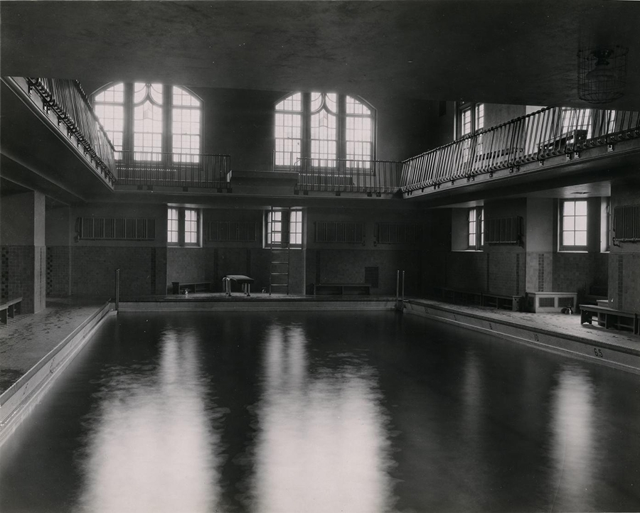 Because the pool closed in 1966, serene images such as this can only be found in photos. Later students would know the space only as a food court and bookstore.