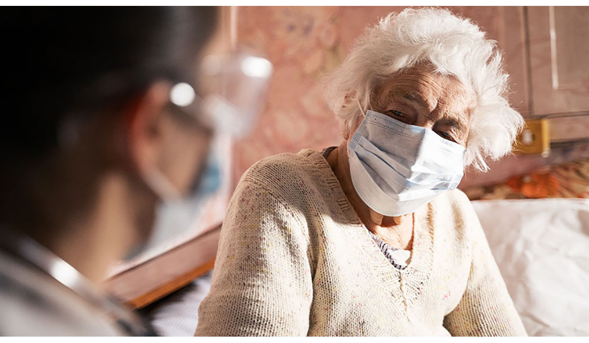 Elderly Woman In Mask With Healthworker Gatewayextension