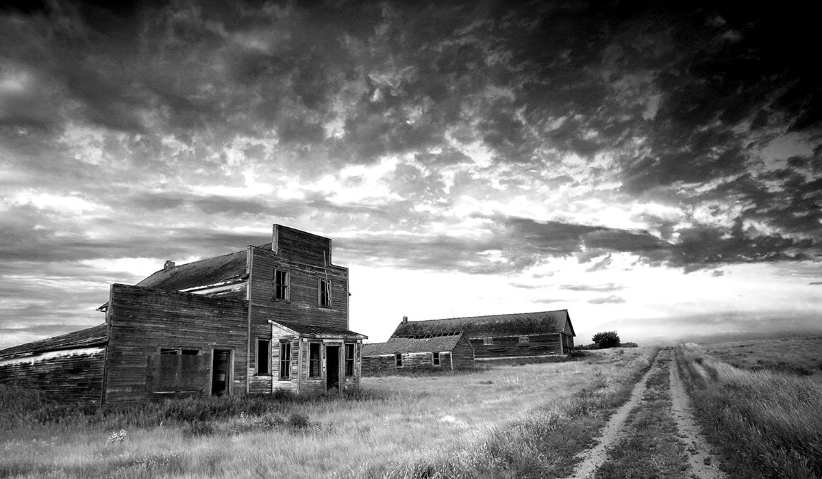 Prairie Ghost Town In Black And White