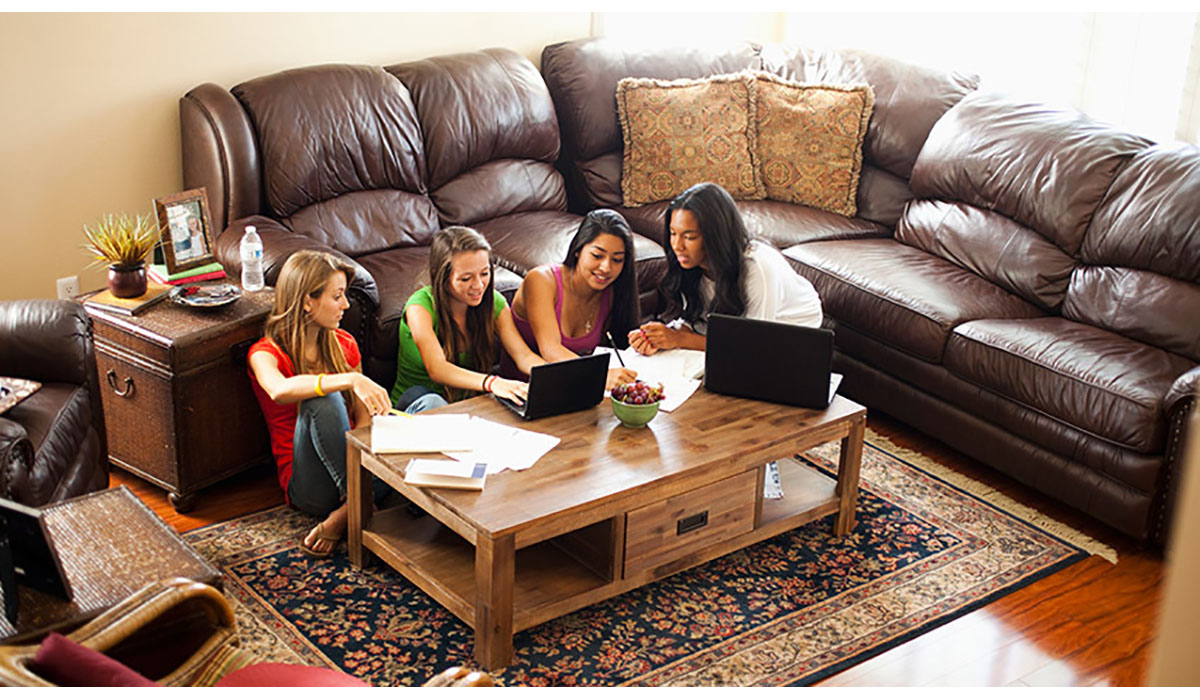 Teenage Girls Studying In Pod In Family Room Gatewayextension