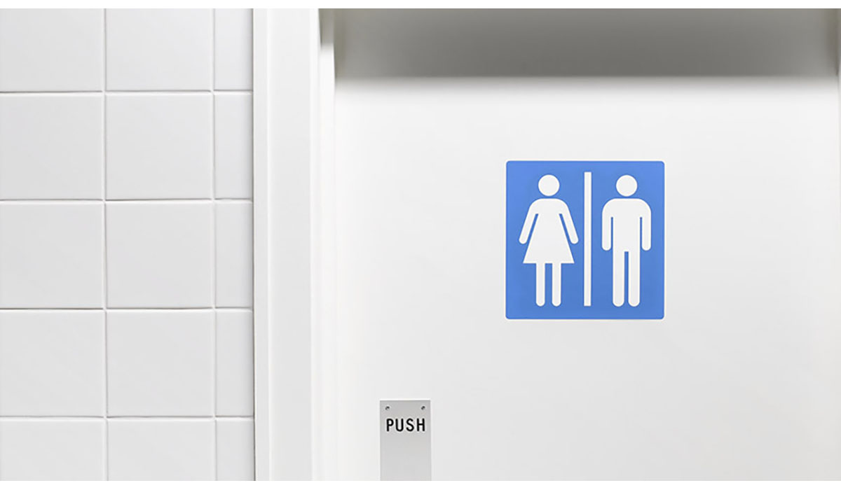 White Bathroom Door With Blue Gender Sign Gatewayextension